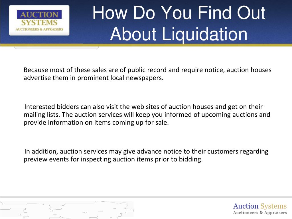 How Do You Find Out About Liquidation Auctions?