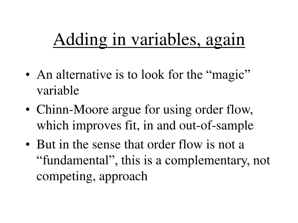 Adding in variables, again