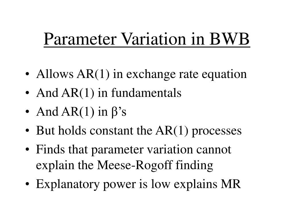 Parameter Variation in BWB