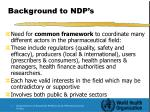 background to ndp s