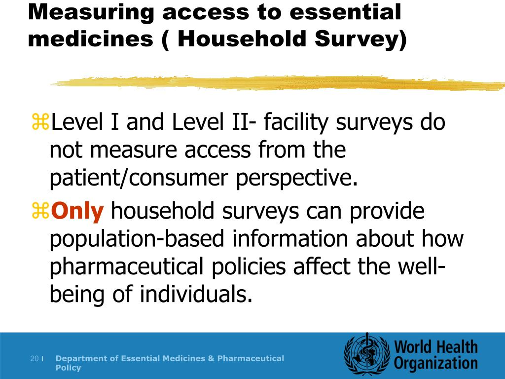 Measuring access to essential medicines ( Household Survey)