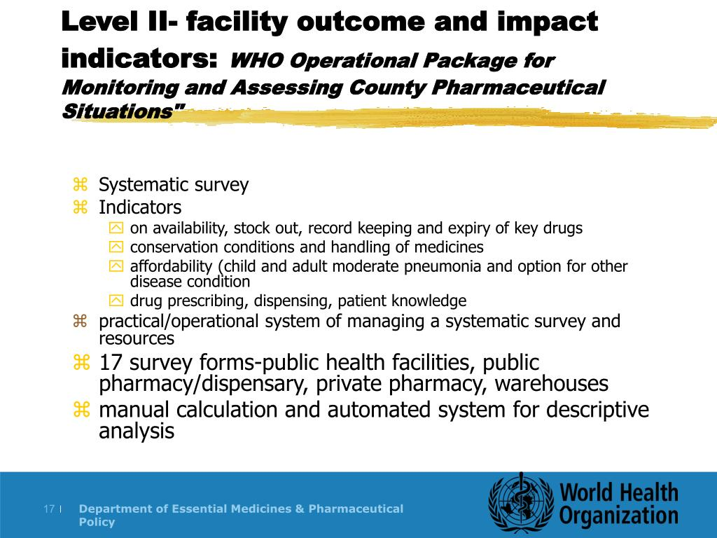 Level II- facility outcome and impact indicators: