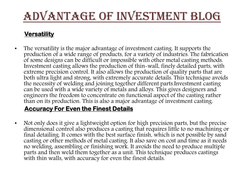 ADVANTAGE OF INVESTMENT BLOG