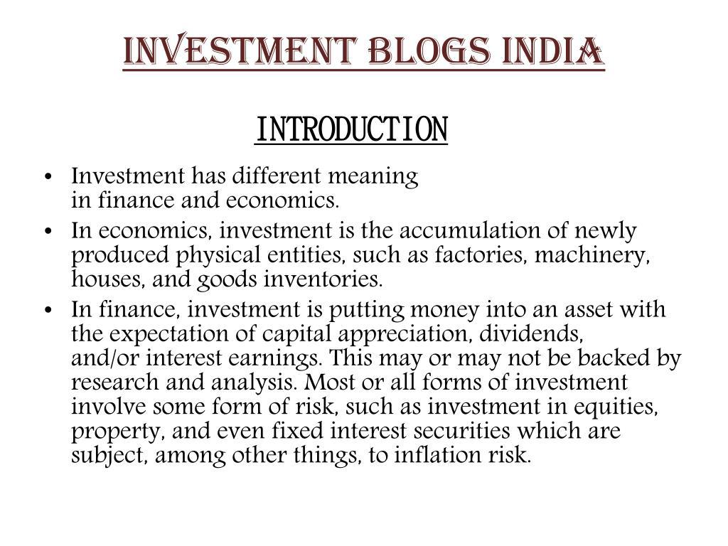 INVESTMENT BLOGS INDIA