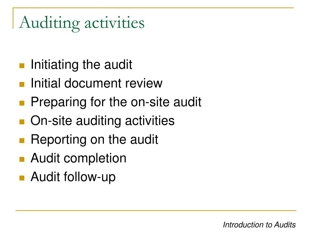 Auditing activities