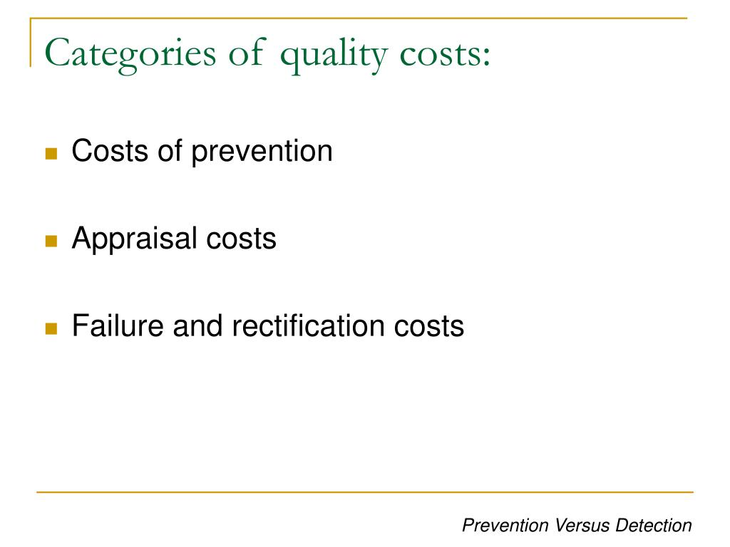 Categories of quality costs: