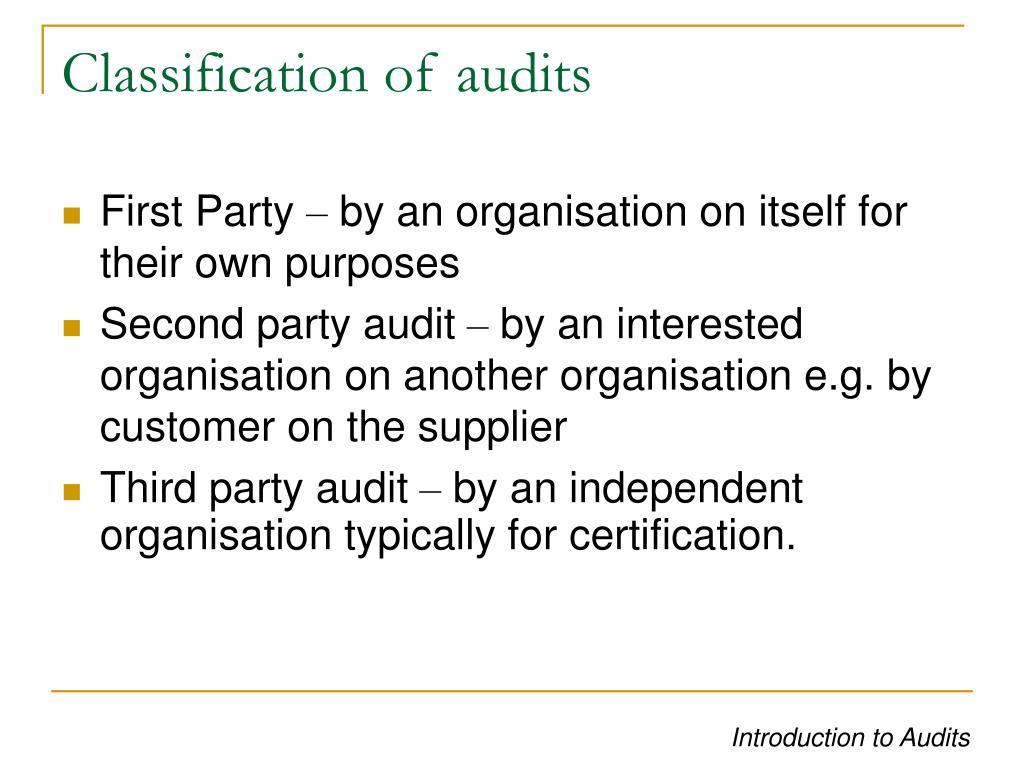 Classification of audits