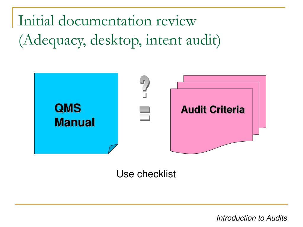 Initial documentation review