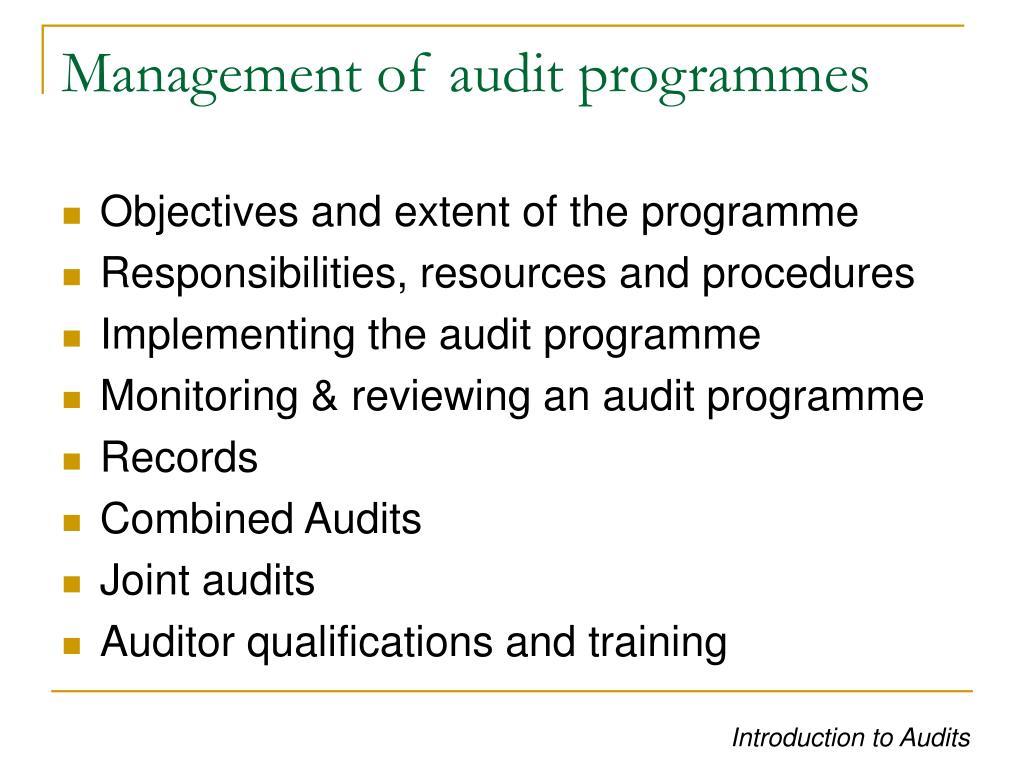 Management of audit programmes