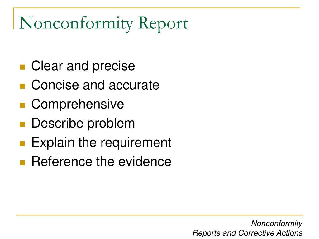Nonconformity Report