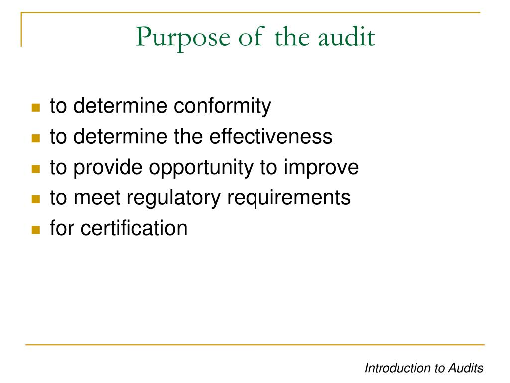 Purpose of the audit