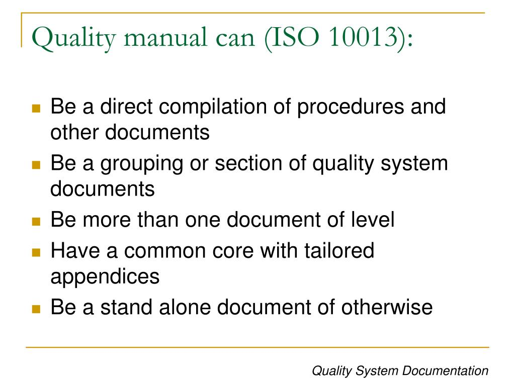 Quality manual can (ISO 10013):