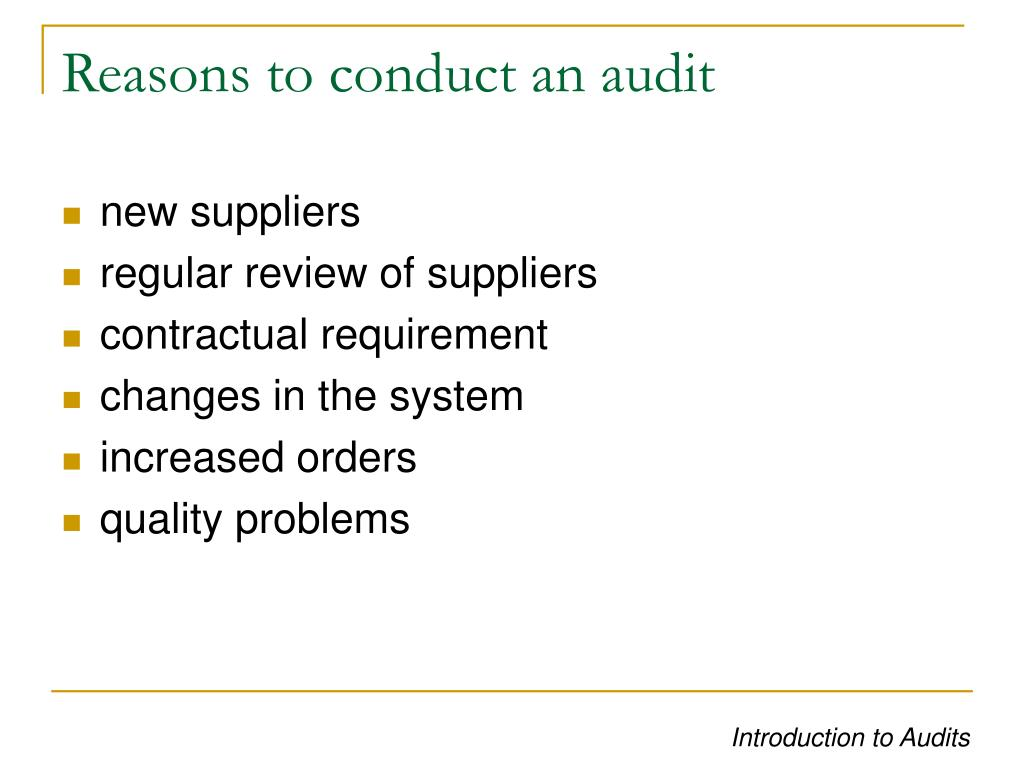 Reasons to conduct an audit