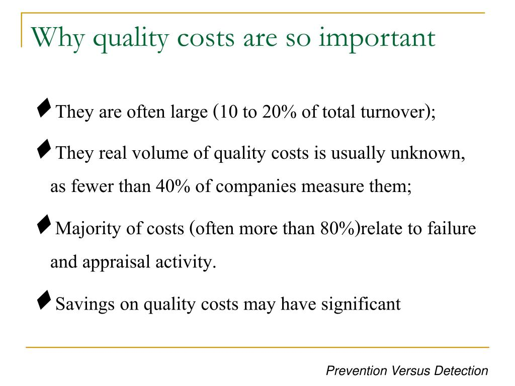 Why quality costs are so important