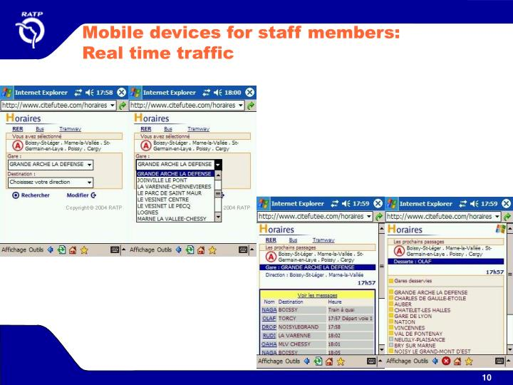Mobile devices for staff members: