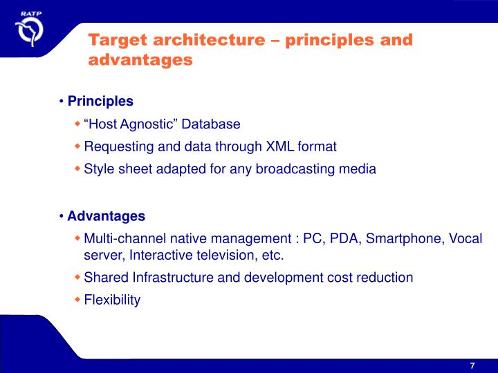 Target architecture – principles and advantages