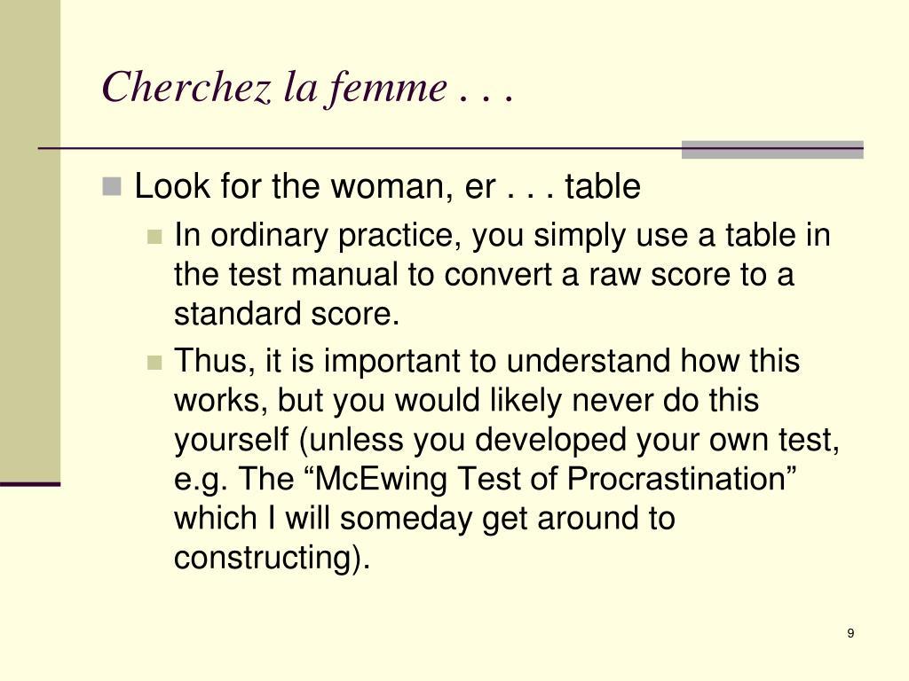 Cherchez la femme . . .