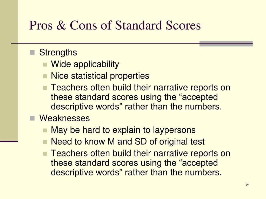 Pros & Cons of Standard Scores