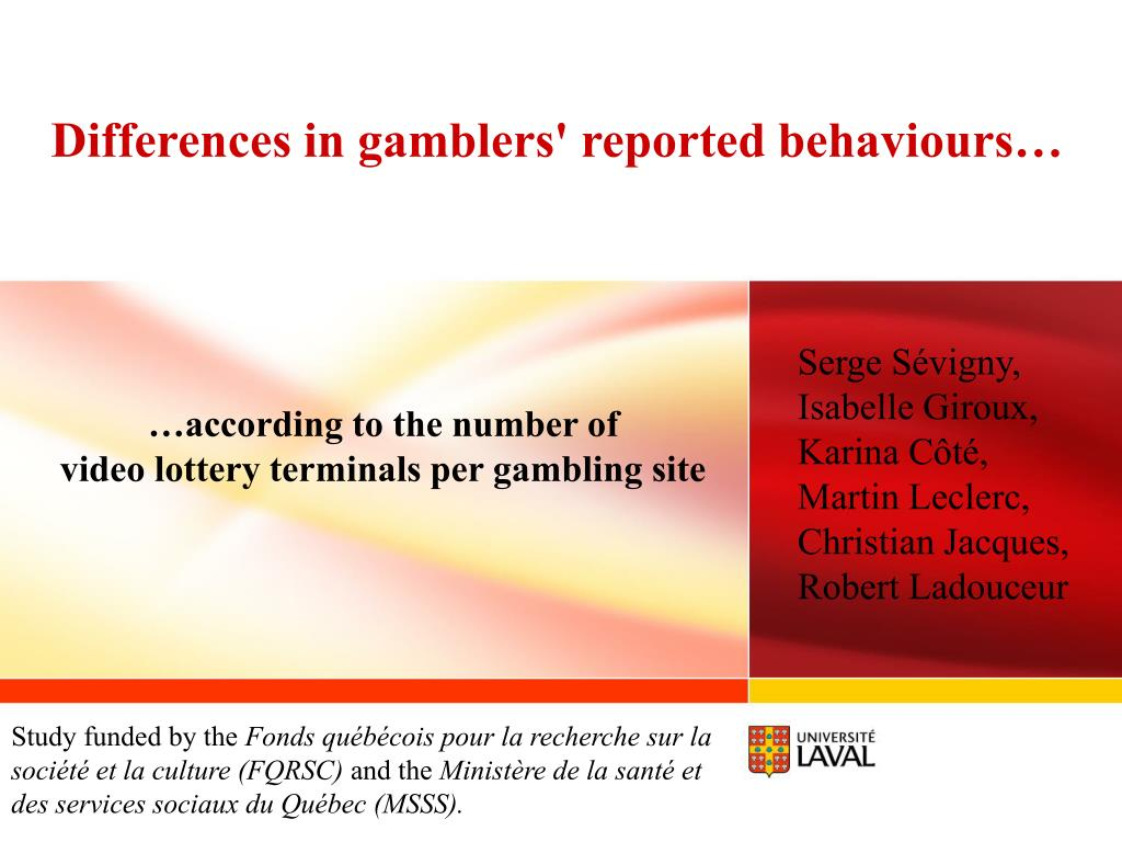 Differences in gamblers' reported behaviours…