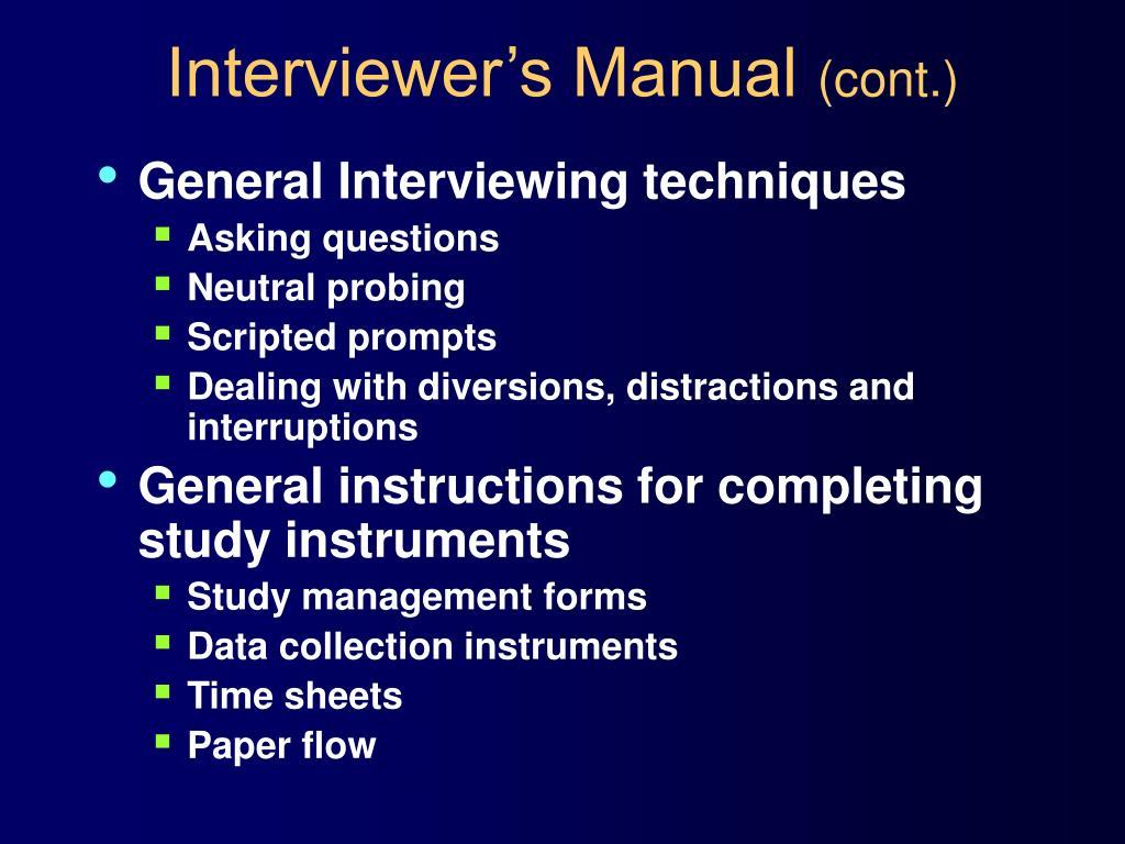 Interviewer's Manual