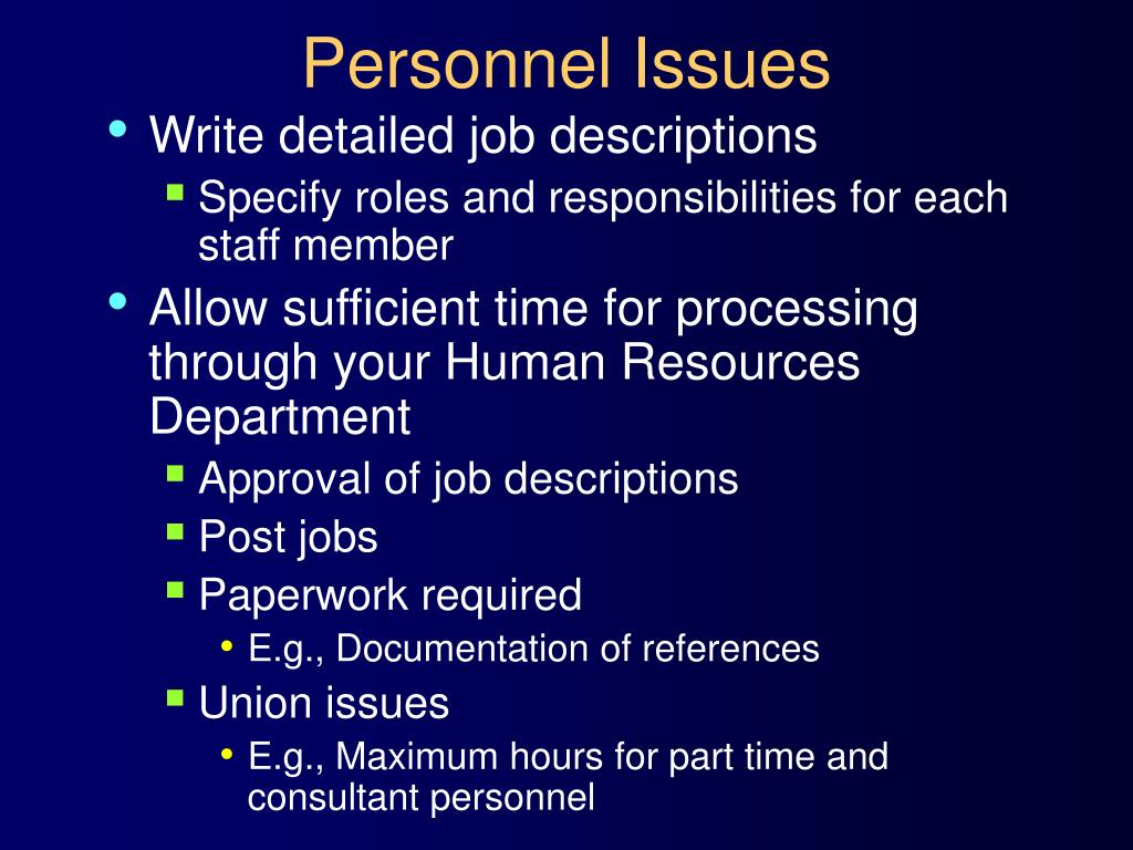 Personnel Issues