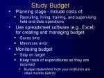 study budget