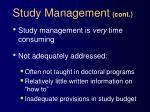 study management cont