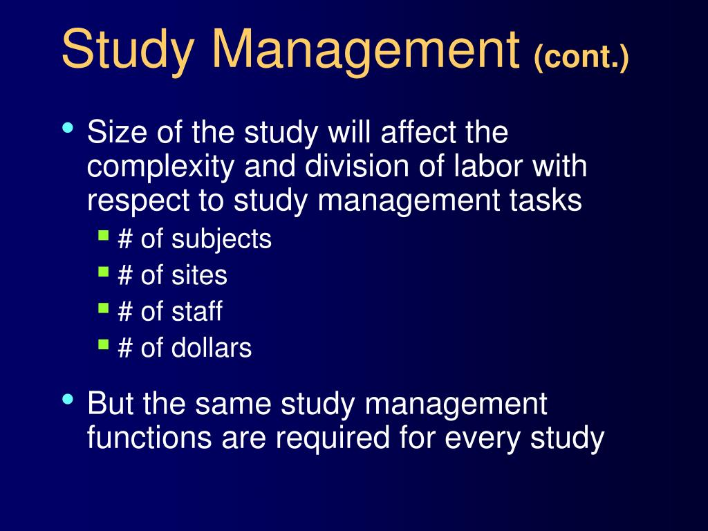 Study Management