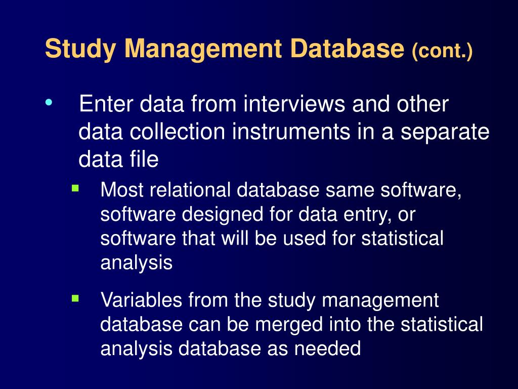 Study Management Database