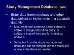 study management database cont