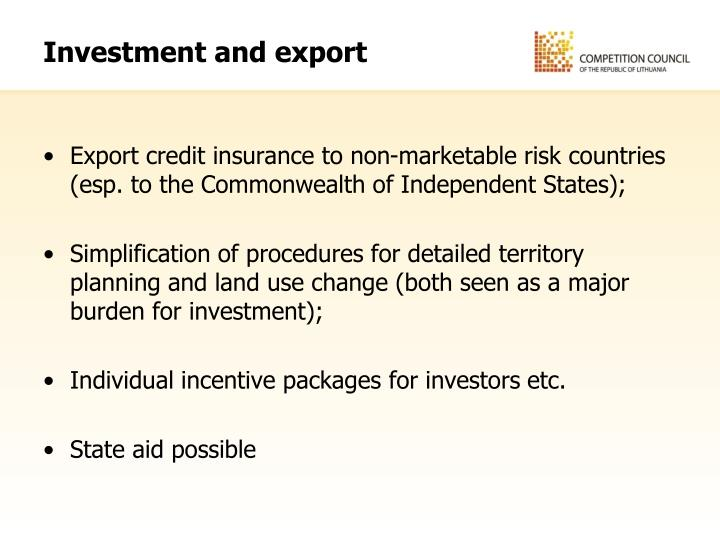 Investment and export