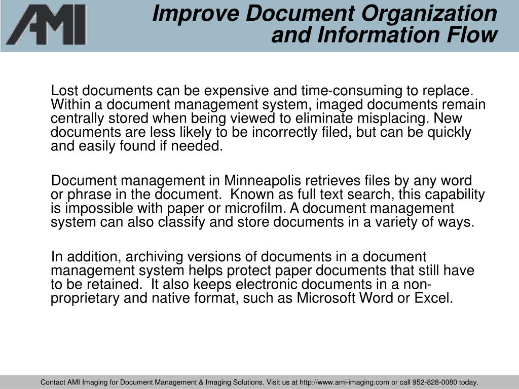 Improve Document Organization and Information Flow