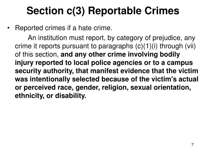 Section c(3) Reportable Crimes