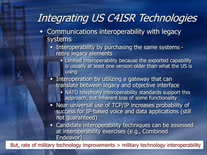 Integrating US C4ISR Technologies