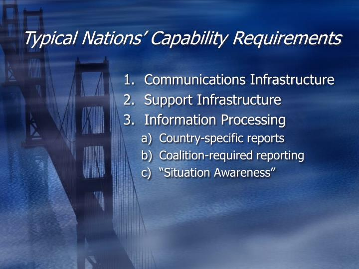 Typical nations capability requirements