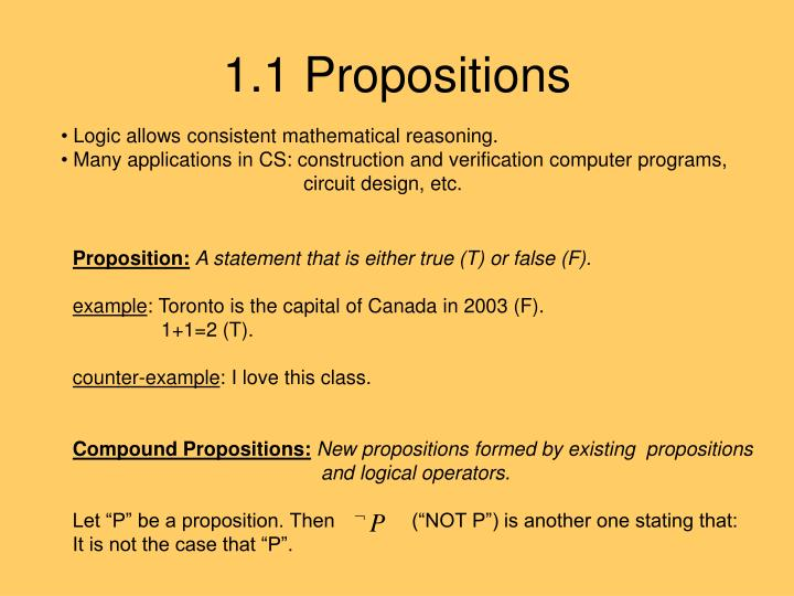 1.1 Propositions