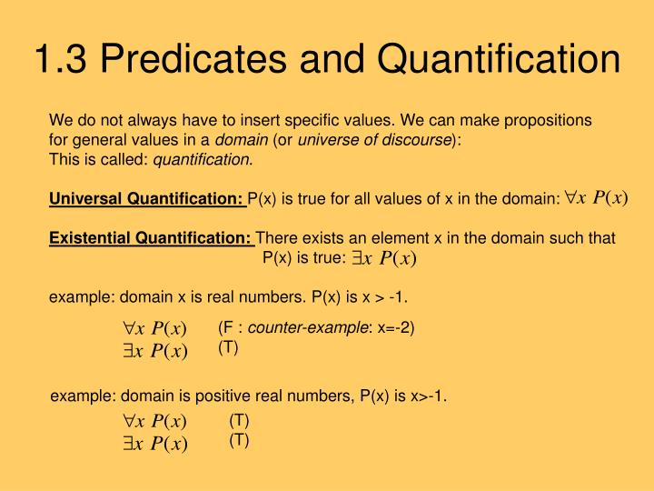 1.3 Predicates and Quantification