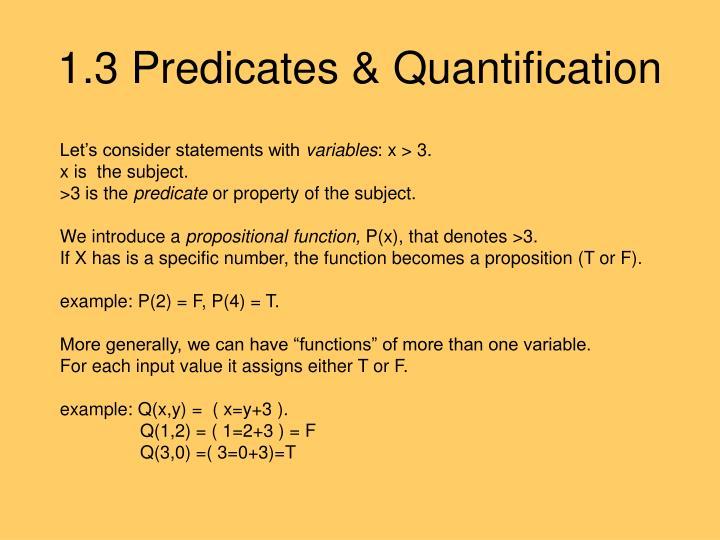 1.3 Predicates & Quantification