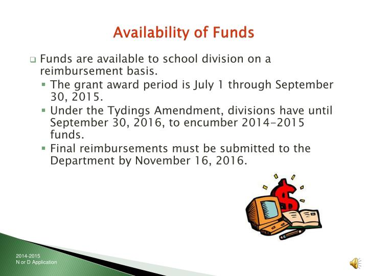 Availability of Funds