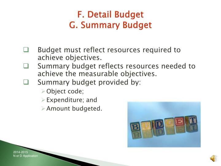 F. Detail Budget