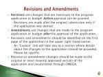 revisions and amendments