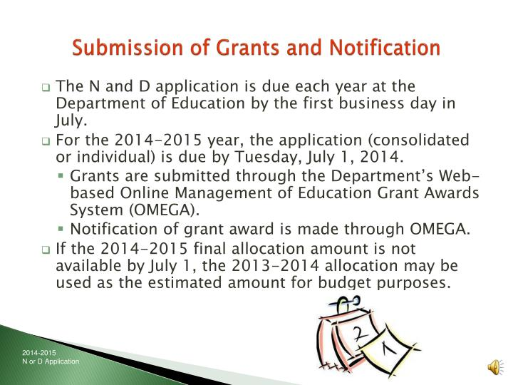 Submission of Grants and Notification