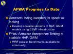 afwa progress to date