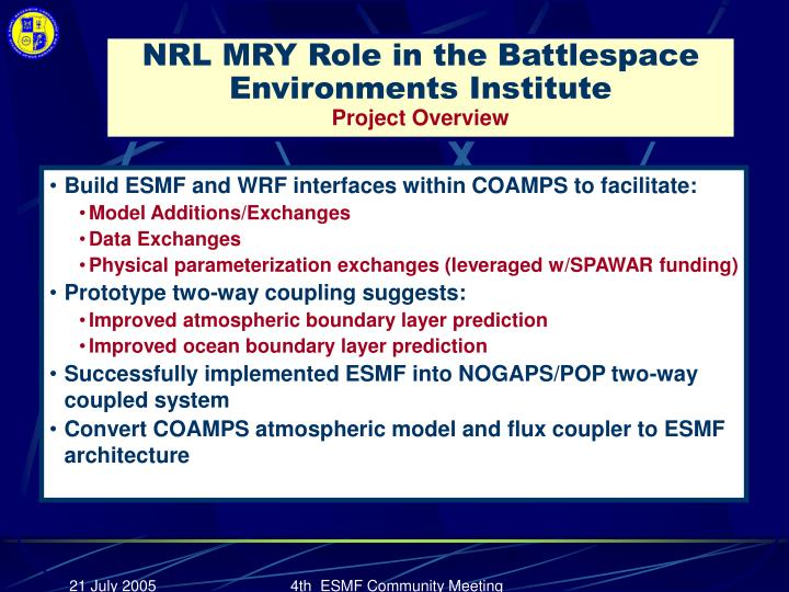 NRL MRY Role in the Battlespace Environments Institute