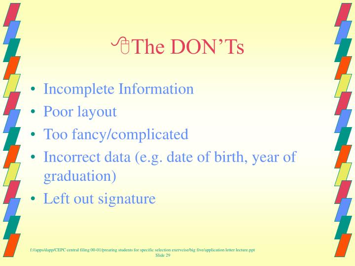The DON'Ts