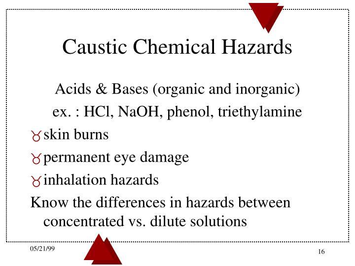 Caustic Chemical Hazards