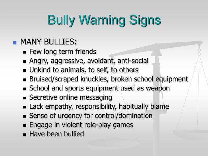 Bully Warning Signs