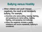 bullying versus hostility