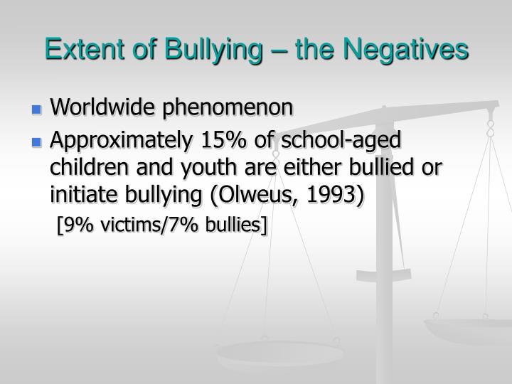 Extent of Bullying – the Negatives