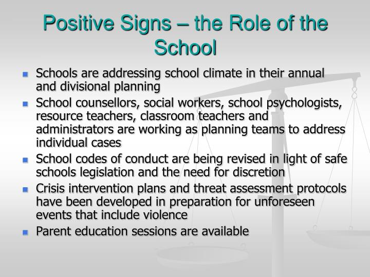 Positive Signs – the Role of the School